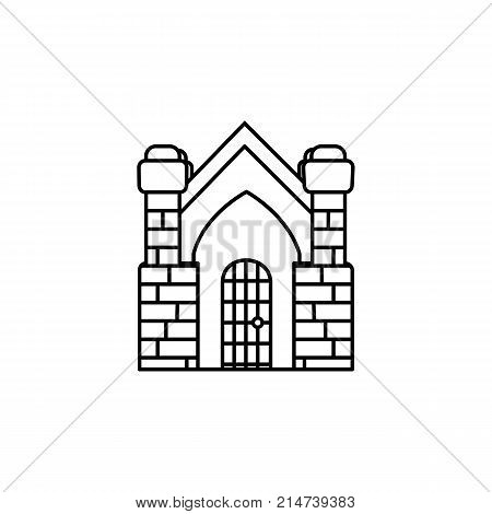 halloween crypt building icon on white background