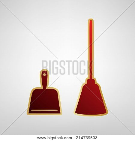 Dustpan vector sign. Scoop for cleaning garbage housework dustpan equipment. Vector. Red icon on gold sticker at light gray background.