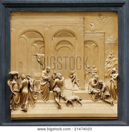 Isaac with Esau and Jacob by Ghiberti. Detail of the panel on the doors (