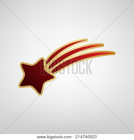Meteor shower sign. Vector. Red icon on gold sticker at light gray background.