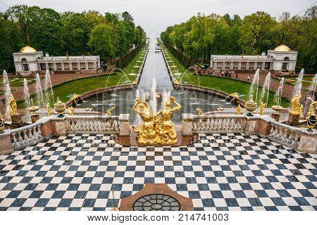Saint Petersburg, Russia - Circa June 2017: The Grand Canal with fountains in Peterhof or Petergof in St. Petersburg