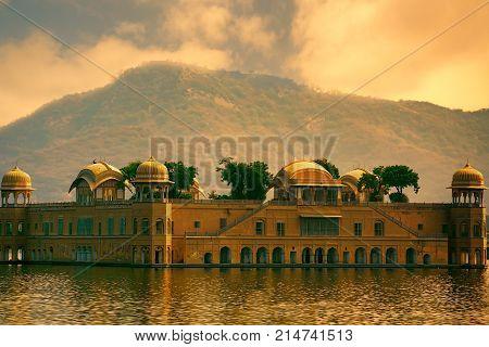 Jal Mahal or Water palace and Man Sagar Lake in Jaipur, Rajasthan, India. Jal Mahal was built in the Rajput and Mughal styles.