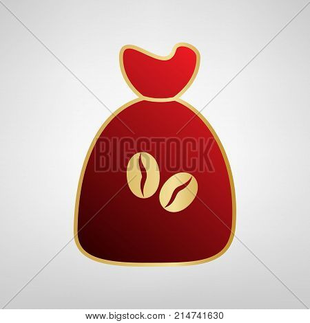 Coffee bag Icon. Coffee bag. Vector. Coffee bag Icon Button. Vector. Red icon on gold sticker at light gray background.