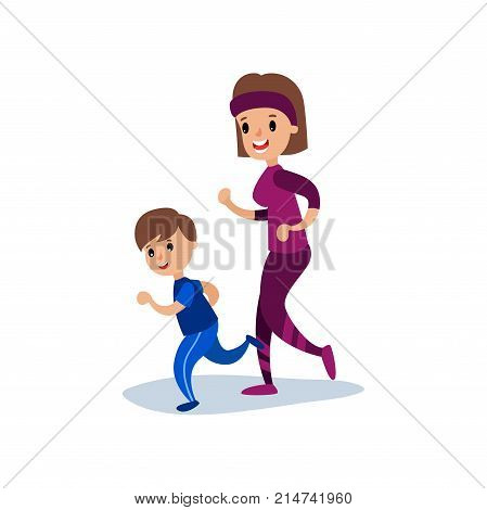 Mom and son running together, sport family and physical activity with children vector Illustration isolated on a white background