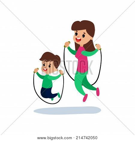 Mom and son jumping with skipping rope together, sport family and physical activity with children vector Illustration isolated on a white background
