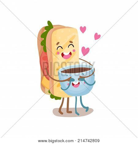 Cute sandwich and cup of coffee characters are best friends, funny fast food menu vector Illustration isolated on a white background