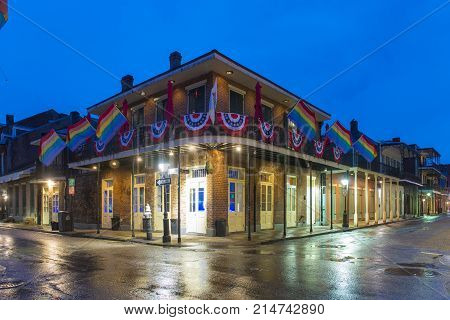 NEW ORLEANS - JUN. 1, 2017: Historic Buildings at the corner of Bourbon Street and St. Ann Street in French Quarter at night in New Orleans, Louisiana, USA.