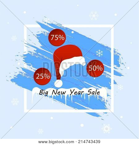 Winter sale. Big New Year sale. Blue background. Christmas and New Year winter sale. Discount banner. Vector illustration