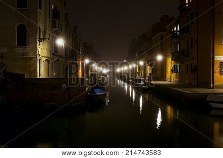 Night Canal In Venice
