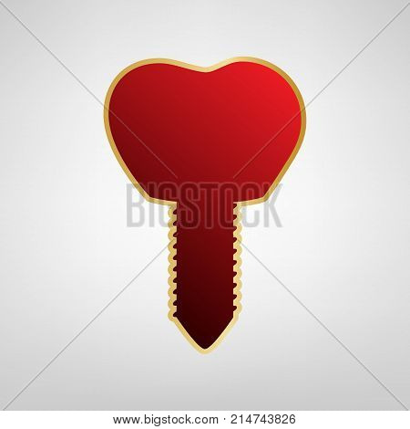 Tooth implant sign illustration. Vector. Red icon on gold sticker at light gray background.