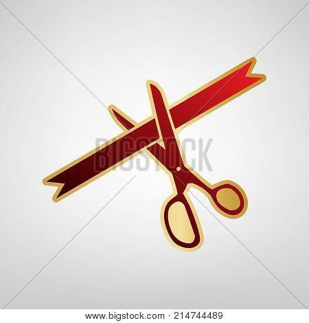 Ceremony ribbon cut sign. Vector. Red icon on gold sticker at light gray background.