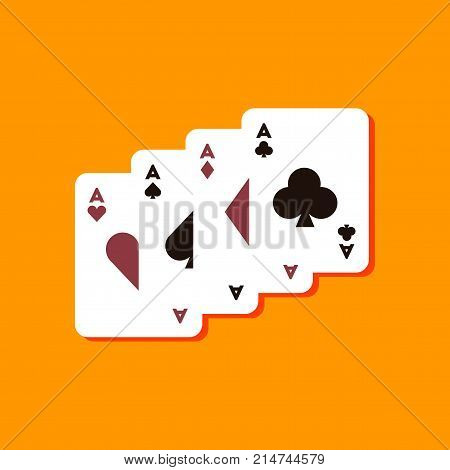 paper sticker on stylish background of poker playing card