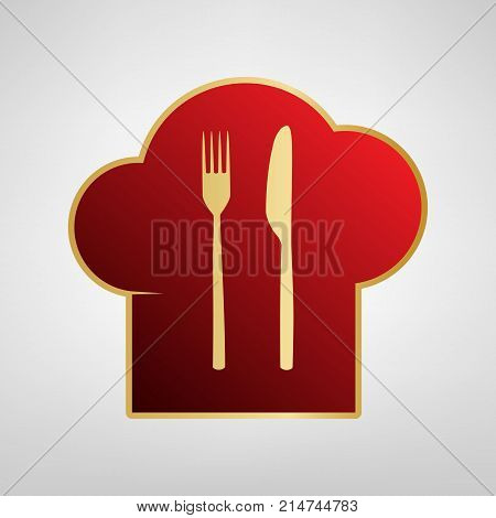 Chef hat and spoon, fork, knife sign. Vector. Red icon on gold sticker at light gray background.