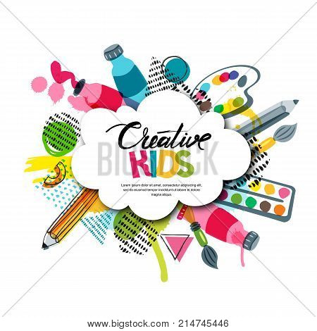 Kids Art Craft, Education, Creativity Class. Vector Banner, Poster With White Cloud Shape Paper Back