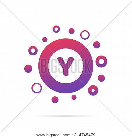 Modern concept of letter y and circles. Symbol design vector illustration isolated on white background