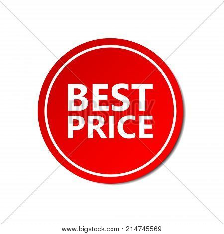 Best price sticker commercial. Commercial red offer label. Vector isolated illustration.