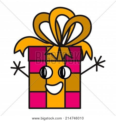 Cute smiling Merry Christmas Happy New Year Happy Birthday gift character with a bow. Funny surprise reward isolated on white background. Vector illustration.
