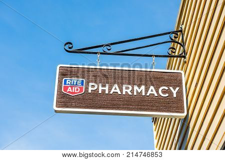 Bar Harbor USA - June 8 2017: Rite Aid Pharmacy sign in old town village in Maine closeup isolated