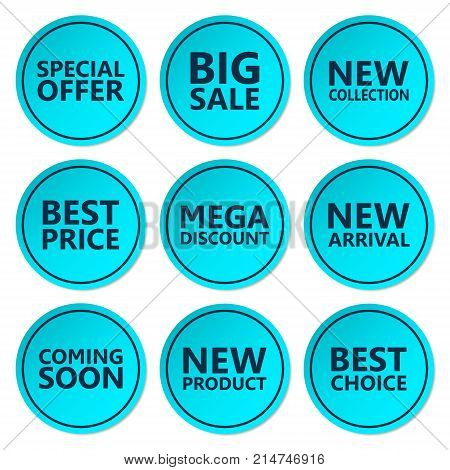 Sale discount sticker set. Commercial collection of blue offer labels. Different commercial inscriptions in circle badges. Vector isolated illustration.