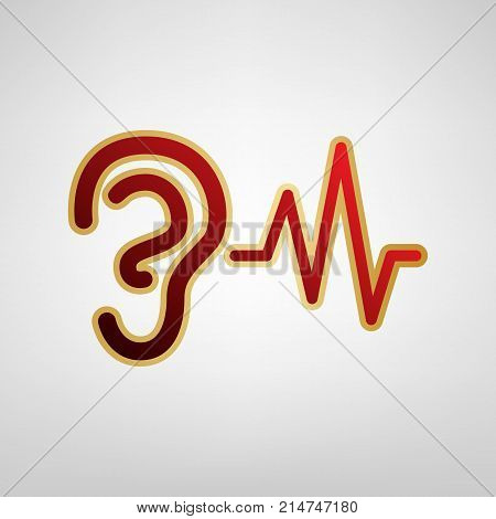 Ear hearing sound sign. Vector. Red icon on gold sticker at light gray background.