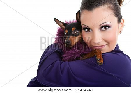 woman hugging fashion little dog miniature pinscher isolated on white background poster