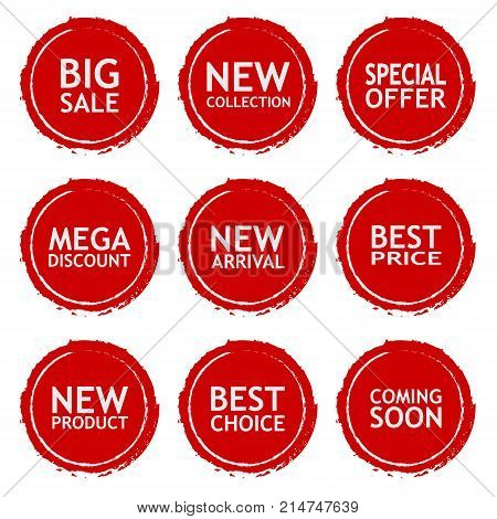 Sale discount sticker set. Commercial collection of red offer labels in grunge style. Different commercial inscriptions in circle badges. Vector isolated illustration.
