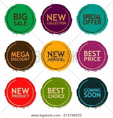 Sale discount sticker set. Commercial collection of grunge varicolored offer labels. Different commercial inscriptions in round badges. For different holidays sale. Vector isolated illustration.