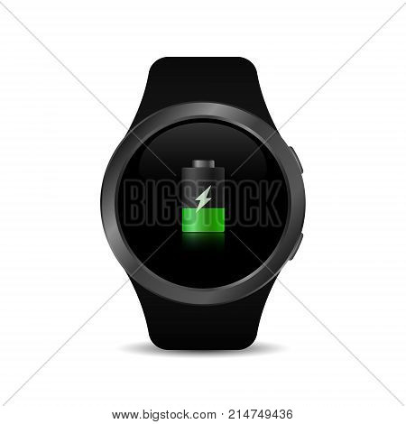 Smart watch with charge sign. Smart watch on charge. Vector isolated illustration.
