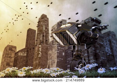 3d illustration of a robot sentinel on a green field