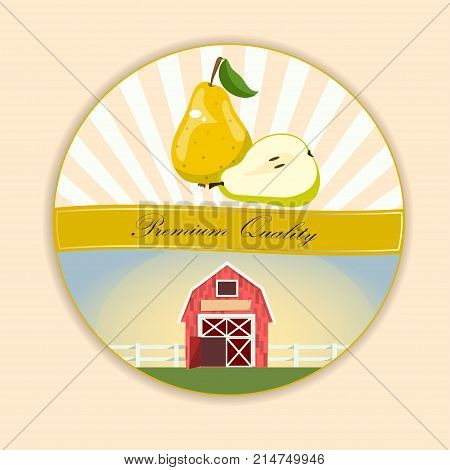 logo of fresh green pear juice. Vector round label, pear jam, sauce or juice label. Pear farm on green meadow