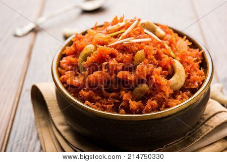 Carrot Halwa or Gajar ka Halwa, popular indian sweet dish