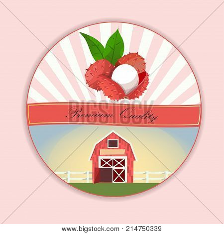 Vintage fruit poster or label design with Lychee. Fresh and juicy lychee. Vector round label, lychee jam, sauce or juice label. farm on green meadow