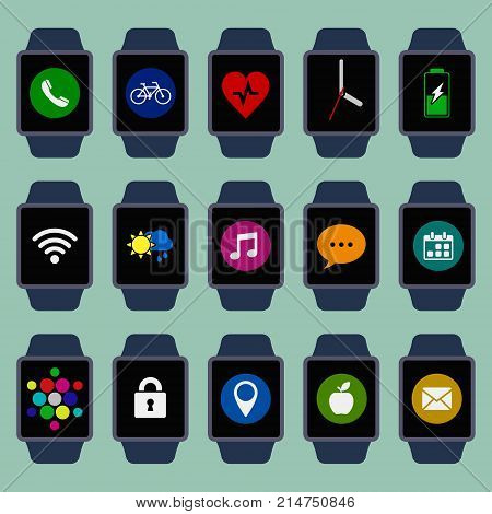 Smart watch set with apps. Collection of different color smart watch screens with applications and notification. Vector isolated illustration.