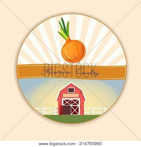 Abstract vector illustration logo for whole and slice ripe vegetable round onion, . Onion pattern on label vegetables ripe sweet food. Farm on greend grass