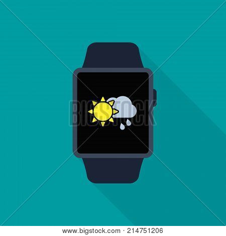 Smart watch icon with weather app symbol. Vector isolated illustration.