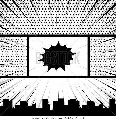 Comics book monochrome template background. Pop art black white empty backdrop mock up. Vector illustration halftone dot mockup for comic text. Silhouette city boom explosion. Speech bubble balloon.