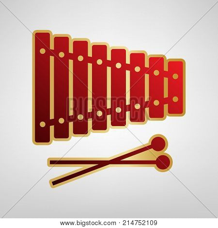 Xylophone sign. Vector. Red icon on gold sticker at light gray background.
