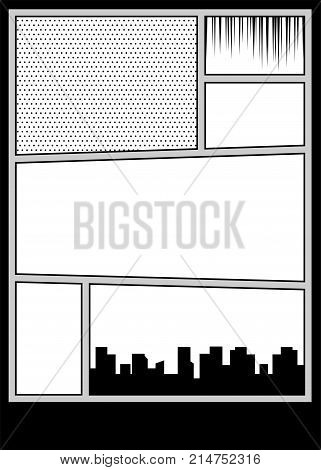 Speech bubble balloon. Comics book monochrome template background. Pop art black white empty backdrop mock up. Vector illustration halftone dot mockup for comic text. Silhouette city boom explosion.
