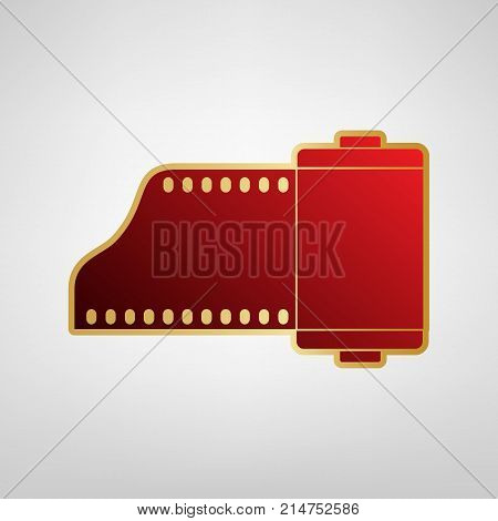 Old photo camera casset sign. Vector. Red icon on gold sticker at light gray background.