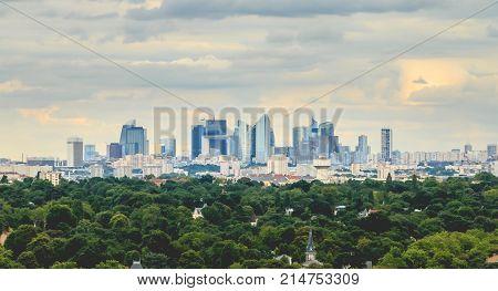 View On The Modern Business District Of Paris La Defense