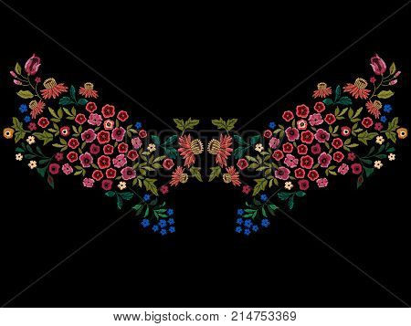 Embroidery ethnic neckline pattern with small wild flowers. Vector embroidered floral design for fashion wearing.