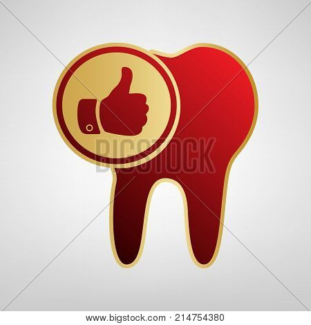 Tooth sign with thumbs up symbol. Vector. Red icon on gold sticker at light gray background.