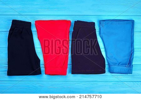 New folded cotton shorts for kids. Toddlers textile short pants for casual wear. Collection of summer shorts for baby on sale.