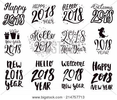 2018 happy New Year black text logo for holiday calendar print design or Christmass newborn yearly party illustration. 2018 logo calligraphic text design