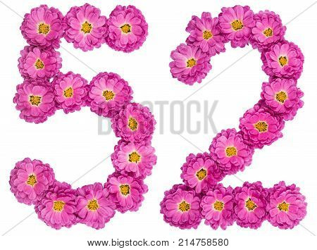 Arabic Numeral 52, Fifty Two, From Flowers Of Chrysanthemum, Isolated On White Background