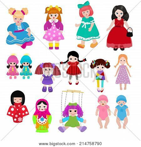 Vector doll toy cute girl female set illustration childhood baby dress face child beautiful dollhouse children baby toyhouse cartoon dollhouse isolated on white background.
