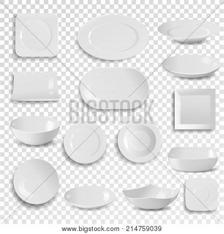 Vector plate and bowl empty white clean dinner utensil isolated on background dish meal dining dishware plateful circle 3d realistic style.