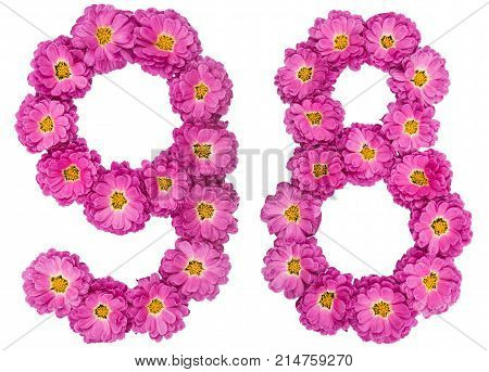 Arabic Numeral 98, Ninety Eight, From Flowers Of Chrysanthemum, Isolated On White Background