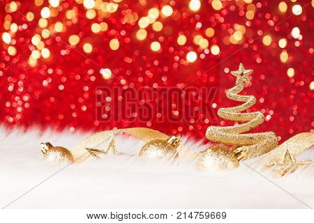 Christmas Tree - Golden Glitter sparkling In The Red Background