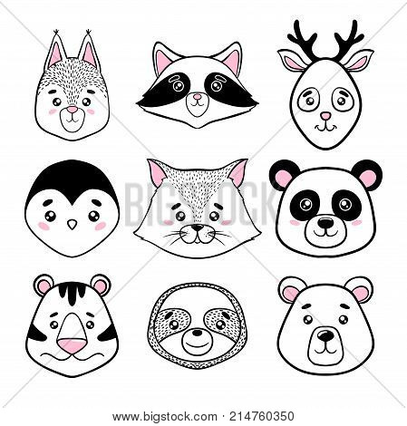 set of cute animal faces black white. panda sloth squirrel raccoon penguin kitty tiger deer bear in scandinavian style. design holiday greeting cards invitations print t-shirts home decor